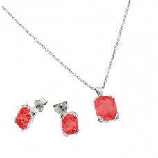 Wholesale Sterling Silver 925 Rhodium Plated Ruby CZ Stud Earring and Necklace Set - STS00486JUL
