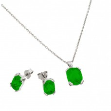 Wholesale Sterling Silver 925 Rhodium Plated Emerald CZ Stud Earring and Necklace Set - STS00486MAY