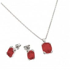 Wholesale Sterling Silver 925 Rhodium Plated Garnet CZ Stud Earring and Necklace Set - STS00486JAN