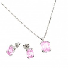 Wholesale Sterling Silver 925 Rhodium Plated Pink Rose CZ Stud Earring and Necklace Set - STS00486OCT