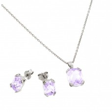 Wholesale Sterling Silver 925 Rhodium Plated Square Alexandrite CZ Stud Earring and Necklace Set - STS00486JUN