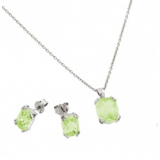 Wholesale Sterling Silver 925 Rhodium Plated Green Peridot CZ Stud Earring and Necklace Set - STS00486AUG