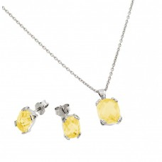 Wholesale Sterling Silver 925 Rhodium Plated Yellow Topaz CZ Stud Earring and Necklace Set - STS00486NOV