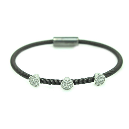 Wholesale Sterling Silver 925 Rhodium Plated Circle Micro Pave Clear CZ Italian Bracelet - ITB00175RH