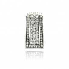 Sterling Silver Rhodium Plated Channel Rectangular CZ Pendant acp00002CLR
