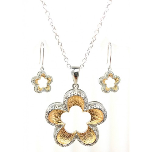 **Closeout** Wholesale Sterling Silver 925 Rhodium and Gold Plated Open Flower Clear Border CZ Hook Earring and Dangling Necklace Set - BGS00100
