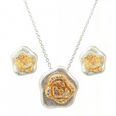 **Closeout** Wholesale Sterling Silver 925 Rhodium and Gold Plated Flower Clear CZ Stud Earring and Necklace Set - BGS00114