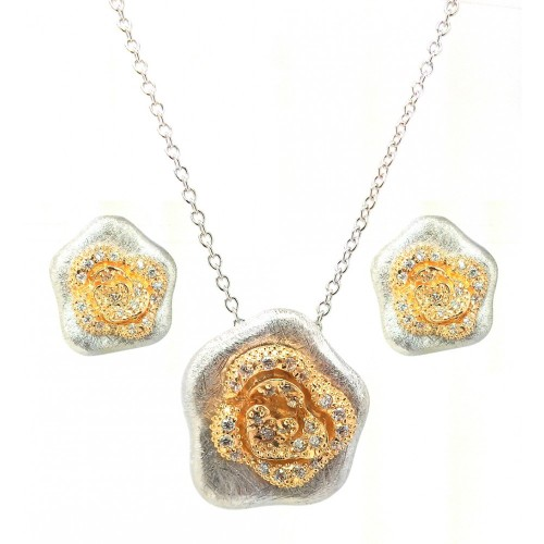 -Closeout- Wholesale Sterling Silver 925 Rhodium and Gold Plated Flower Clear CZ Stud Earring and Necklace Set - BGS00114
