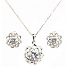 Wholesale Sterling Silver 925 Rhodium Plated Clear Flower CZ Stud Earring and Necklace Set - BGS00248