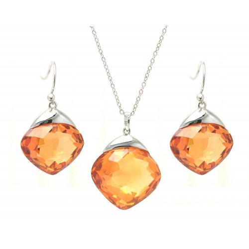 Wholesale Sterling Silver 925 Rhodium Plated Champagne Diamond Shaped CZ Hook Earring and Necklace Set - BGS00283