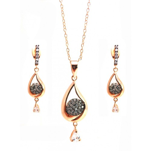 -Closeout- Wholesale Sterling Silver 925 Black Rhodium and Gold Plated Clear Open Teardrop CZ Dangling Stud Earring and Dangling Necklace Set - BGS00302