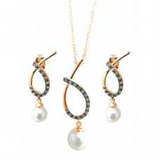 Wholesale Sterling Silver 925 Black Rhodium and Gold Plated Open Overlap Teardrop Oval Pearl CZ Hanging Stud Earring and Hanging Necklace Set - BGS00304