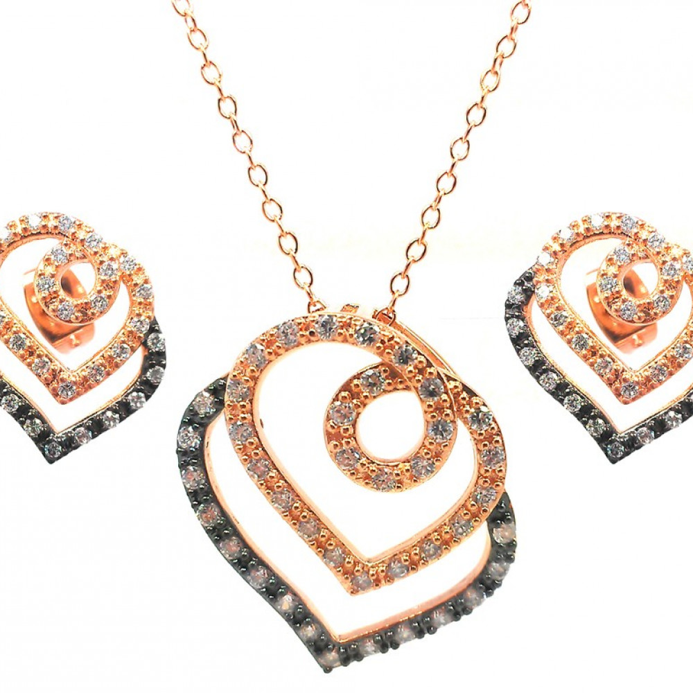 -Closeout- Wholesale Sterling Silver 925 Black Rhodium and Gold Plated Open Curl Heart Clear CZ Stud Earring and Necklace Set - BGS00310