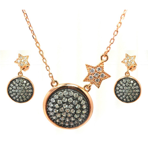 -Closeout- Wholesale Sterling Silver 925 Black Rhodium and Gold Plated Clear Round Disc Star CZ Dangling Stud Earring and Necklace Set - BGS00313