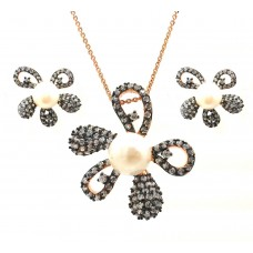 ***CLOSEOUT*** Wholesale Sterling Silver 925 Black Rhodium and Gold Plated Pearl Clear Flower CZ Stud Earring and Necklace Set - BGS00317