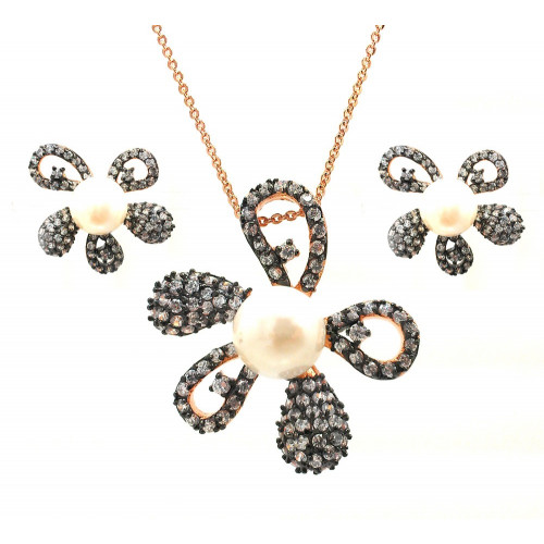 -CLOSEOUT- Wholesale Sterling Silver 925 Black Rhodium and Gold Plated Pearl Clear Flower CZ Stud Earring and Necklace Set - BGS00317