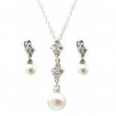 Wholesale Sterling Silver 925 Rhodium Plated Ornate Pearl Clear CZ Stud Dangling Earring and Dangling Necklace Set - BGS00320