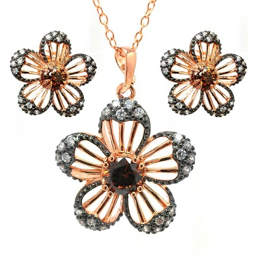 **Closeout** Wholesale Sterling Silver 925 Black Rhodium and Gold Plated Black and Clear Flower CZ Stud Earring and Necklace Set - BGS00321