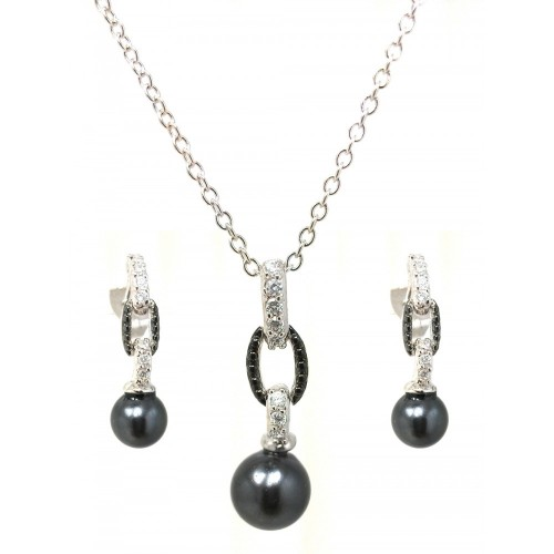 Wholesale Sterling Silver 925 Rhodium and Black Rhodium Plated Black Pearl Clear CZ Dangling Set - BGS00383BLK