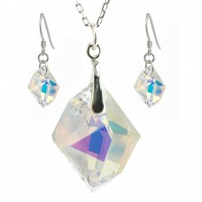 Wholesale Sterling Silver 925 Rhodium Plated Colorful CZ Hook Earring and Dangling Necklace Set - BGS00386
