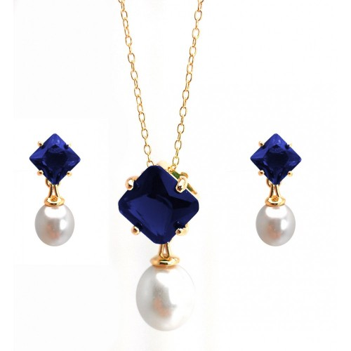 Wholesale Sterling Silver 925 Gold Plated Pearl Drop Diamond Shaped Blue CZ Dangling Stud Earring and Dangling Necklace Set - BGS00432BLU