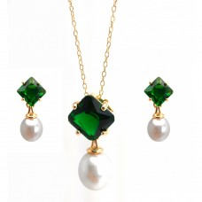 Wholesale Sterling Silver 925 Gold Plated Pearl Drop Diamond Shaped Green CZ Dangling Stud Earring and Dangling Necklace Set - BGS00432GRN