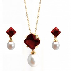Wholesale Sterling Silver 925 Gold Plated Pearl Drop Diamond Shaped Red CZ Dangling Stud Earring and Dangling Necklace Set - BGS00432RED