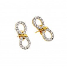 Wholesale Sterling Silver 925 Gold Rhodium Plated Ribbon Infinity CZ Stud Earrings - BGE00388