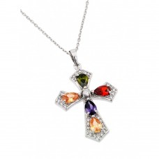 Wholesale Sterling Silver 925 Rhodium Plated Multiple Color Teardrop Cross CZ Necklace - BGP00658