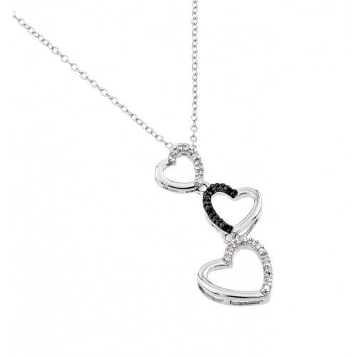 Wholesale Sterling Silver 925 Rhodium Plated Three Graduated Open Heart Clear and Black CZ Necklace - BGP00679