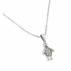 Sterling Silver Clear CZ Rhodium Plated Penguin Necklace - BGP00847