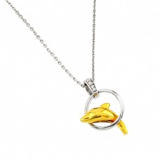Wholesale Sterling Silver 925 Rhodium and Gold Plated Dolphin Leaping Over Hoop Pendant Necklace - BGP00875