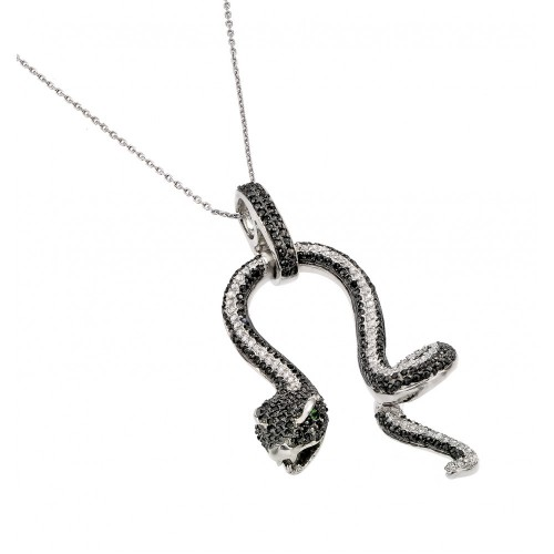 Wholesale Sterling Silver 925 Black Rhodium Plated Snake with Green CZ Stone Eyes Pendant Necklace - BGP00893