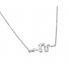 Sterling Silver Rhodium Plated Snake Pendant Necklace - BGP00905
