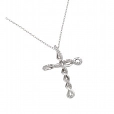 Wholesale Sterling Silver 925 Rhodium Plated Clear CZ Tied Cross Pendant Necklace - BGP00907