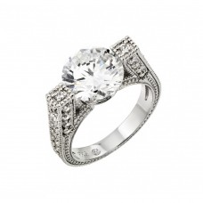 Wholesale Sterling Silver 925 Rhodium Plated Clear Round Center and Pave Set CZ Ring - BGR00758