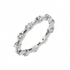 Wholesale Sterling Silver 925 Rhodium Plated Clear CZ Stackable Eternity Ring - BGR00762