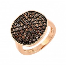 Sterling Silver Black Rhodium and Rose Gold Plated Colored CZ Pave Set Flat Disc Ring - BGR00764
