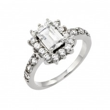 Wholesale Sterling Silver 925 Rhodium Plated Clear Cluster and Square Center CZ Engagement Ring - BGR00792