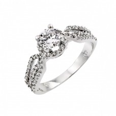 Sterling Silver Rhodium Plated Clear CZ Bridal Engagement Ring - BGR00793