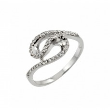 Sterling Silver Rhodium Plated Clear Inlay CZ Loop Ring - BGR00811