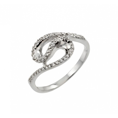 Wholesale Sterling Silver 925 Rhodium Plated Clear Inlay CZ Loop Ring - BGR00811