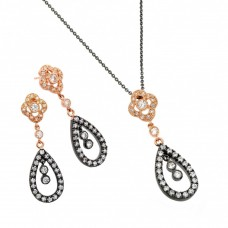 **Closeout** Wholesale Sterling Silver 925 Black Rhodium and Gold Plated Flower Teardrop Clear CZ Dangling Stud Earring and Dangling Necklace Set - BGS00318