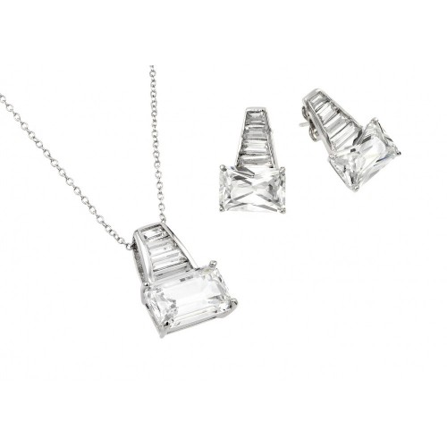 Wholesale Sterling Silver 925 Rhodium Plated Clear Baguette CZ Stud Earring and Necklace Set - BGS00376