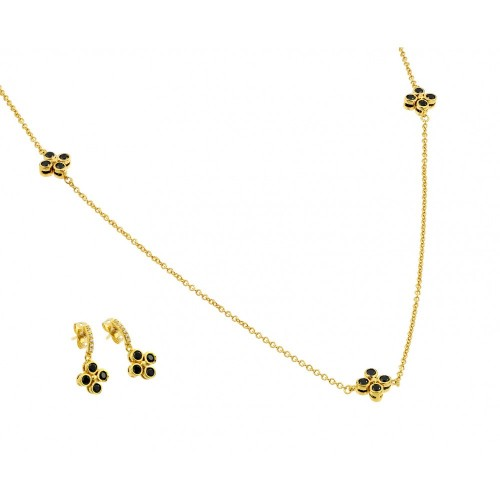 Wholesale Sterling Silver 925 Gold Plated Black CZ Dangling Stud Earring Necklace Set - BGS00426