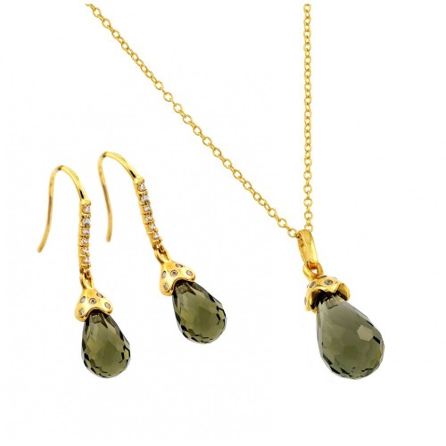 Wholesale Sterling Silver 925 Gold Plated Green Teardrop CZ Hook Earring and Necklace Set - BGS00428