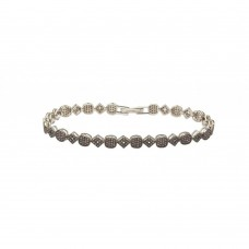 Sterling Silver Rhodium Plated Multiple Square and Circle Micro Pave Tennis Clear CZ Bracelet - GMB00004