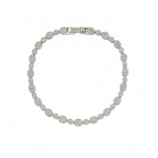 Sterling Silver Rhodium Plated Multiple Circle and Marquis Clear Tennis Micro Pave CZ Bracelet - GMB00006