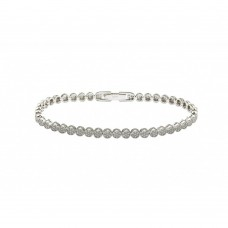 Sterling Silver Rhodium Plated Multiple Circle Clear Tennis Micro Pave CZ Bracelet - GMB00007