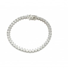Sterling Silver Rhodium Plated Multiple Circle Clear Tennis Micro Pave CZ Bracelet - GMB00008RH
